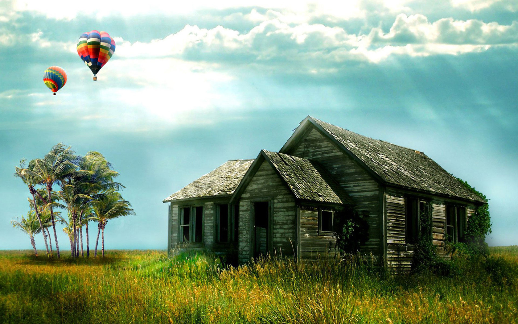 Old house and balloons on the field Wallpaper Original HD Wallpapers 1680x1050