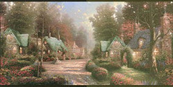 Thomas Kinkade Cottages Wallpaper Border Wallpapersafari
