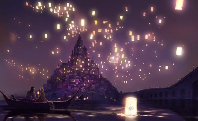 Rapunzel Floating Lanterns   Anime Couples Artbooks theAnimeGallery 640x392