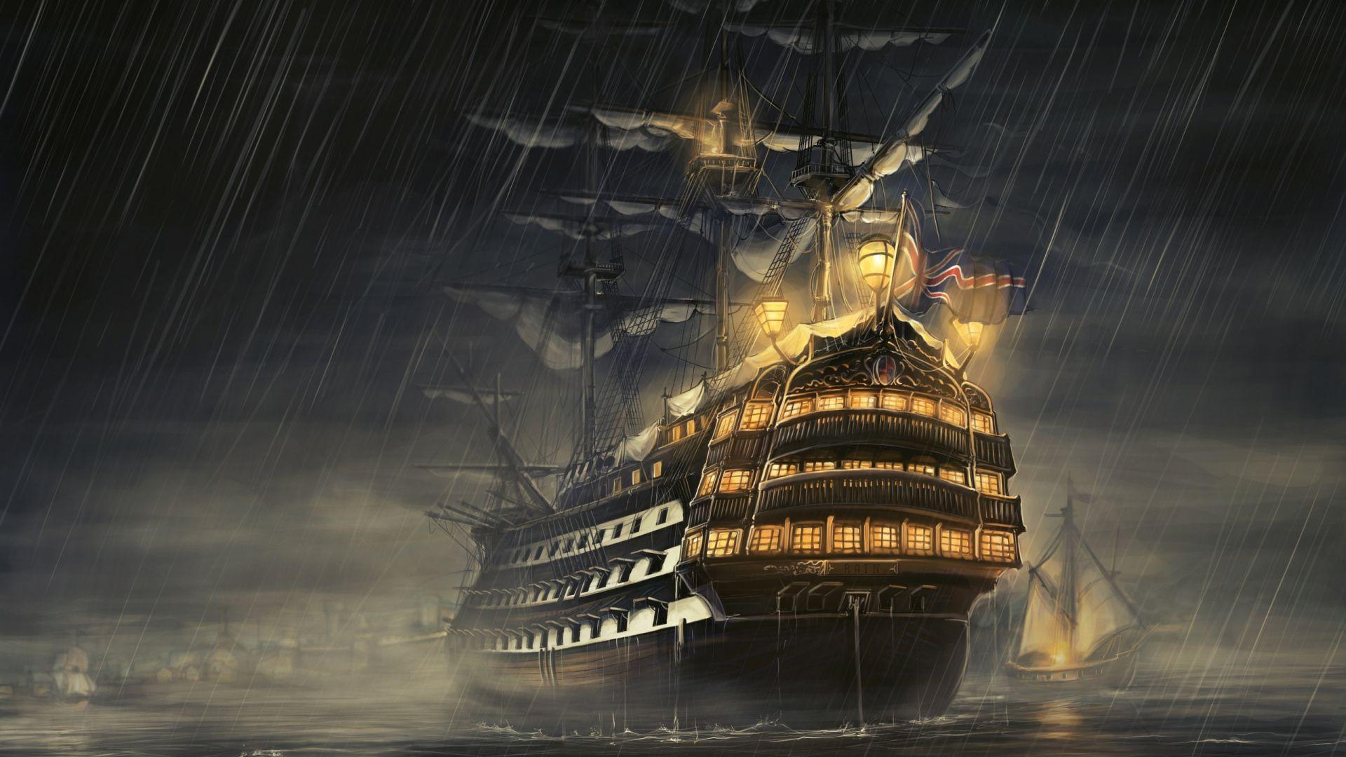 Download Wallpaper 1920x1080 Ships Sea Light Rain Full HD 1080p 1920x1080