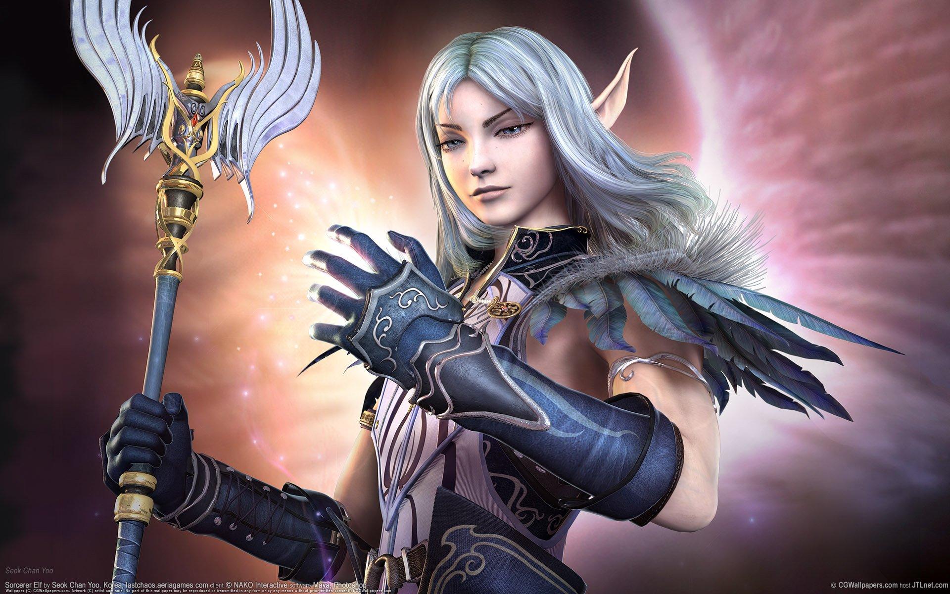 Sorcerer Elf 3d girl elf fantasy girl 1920x1200