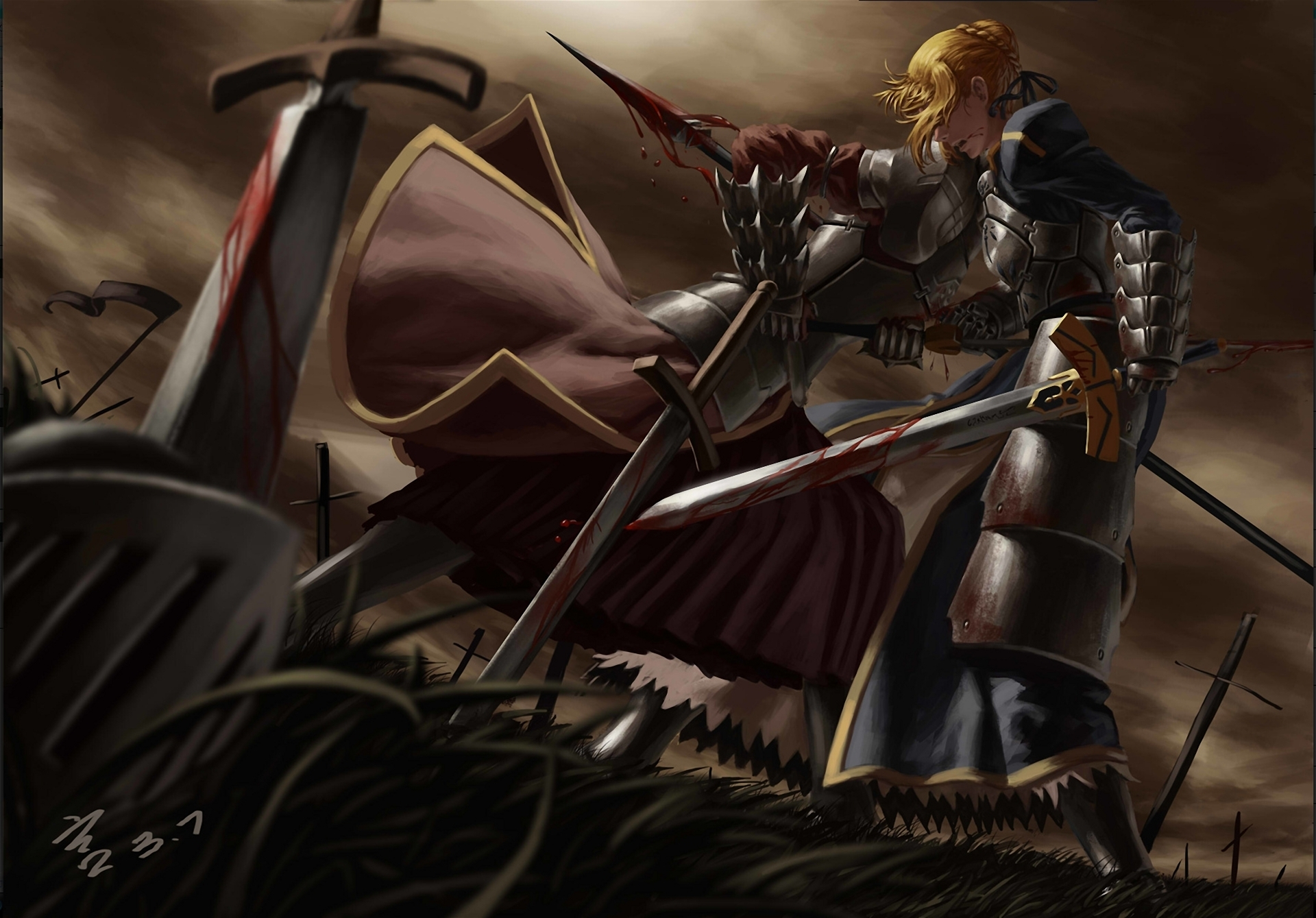 Anime FateZero FateStay Night Mordred Saber Weapon Sword Spear Blood 1920x1339