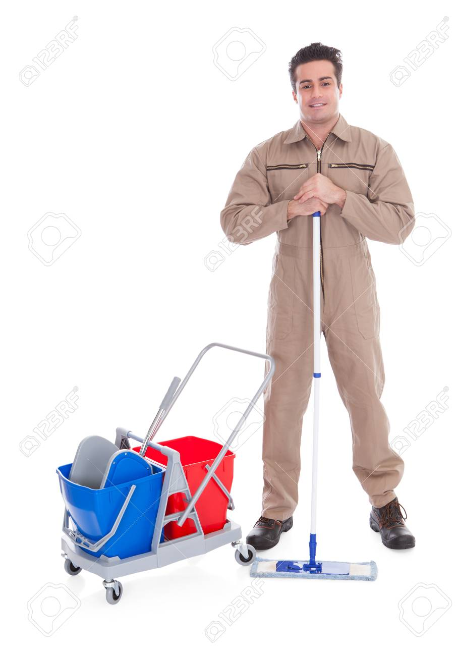 Young Male Sweeper Cleaning Floor On White Background Stock Photo 904x1300