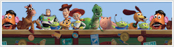 Toy Story Blue Prepasted Wallpaper Border SALE   Kids Wall Decor Store 570x154