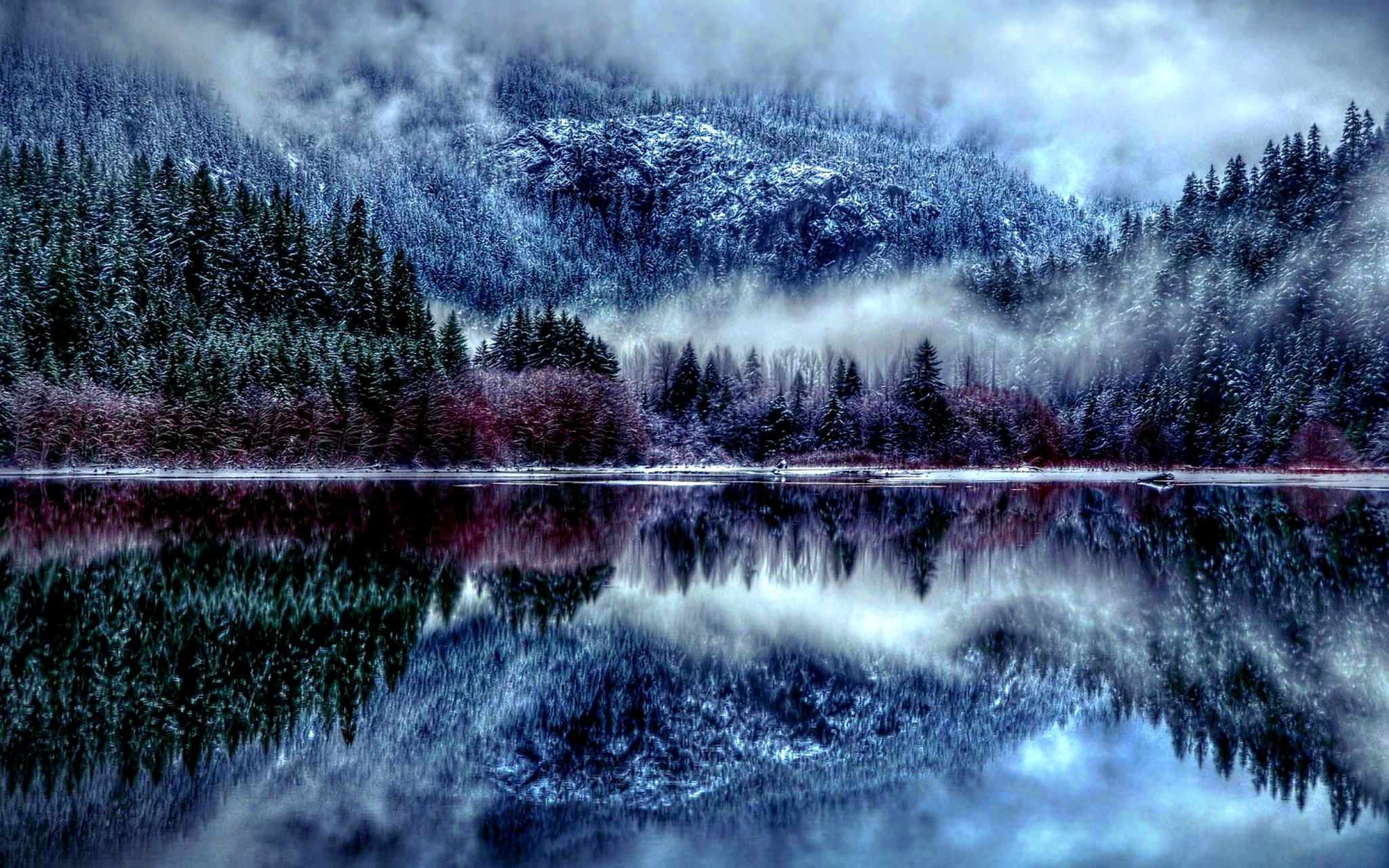 снег горы туман snow mountains fog  № 1146667 бесплатно