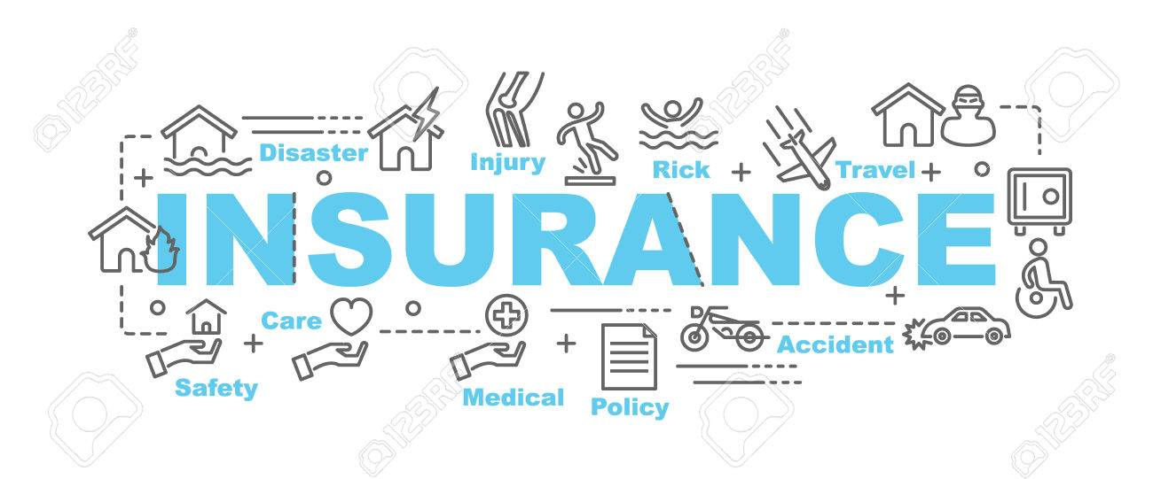 Insurance Vector Banner Design Concept Flat Style With Thin 1300x541
