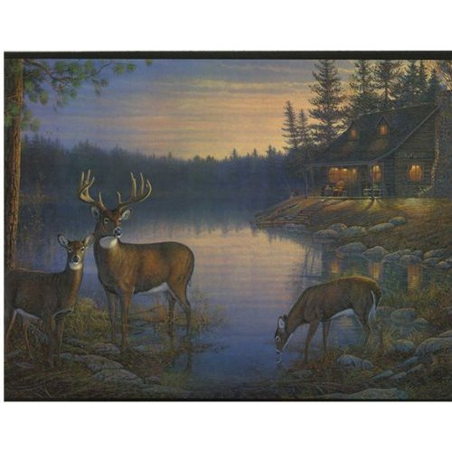 Deer and Cabin In The Woods Wallpaper Border Home 500x500