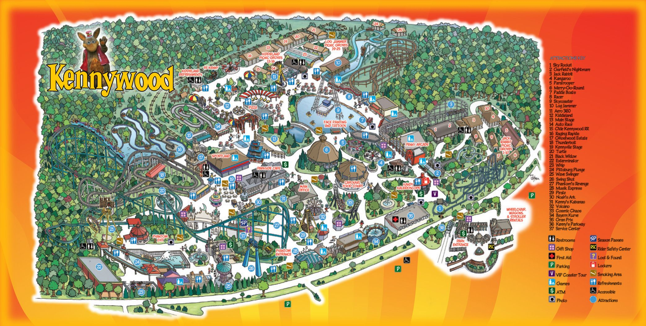 Park Map Kennywood With images Visit pittsburgh Park 2085x1053