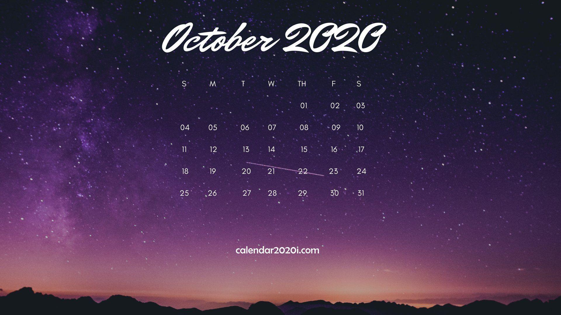 October 2020 Calendar Wallpapers   Top October 2020 Calendar 1920x1080