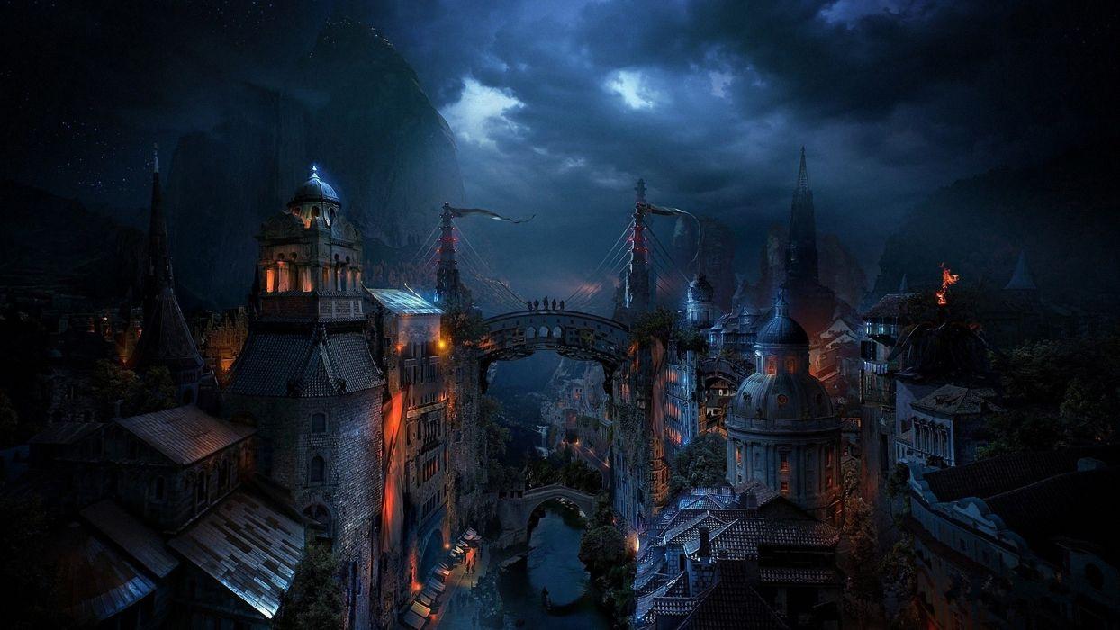 Alexey Kondakov Kondakov matte paintings fantasy Zaorn City world 1244x700