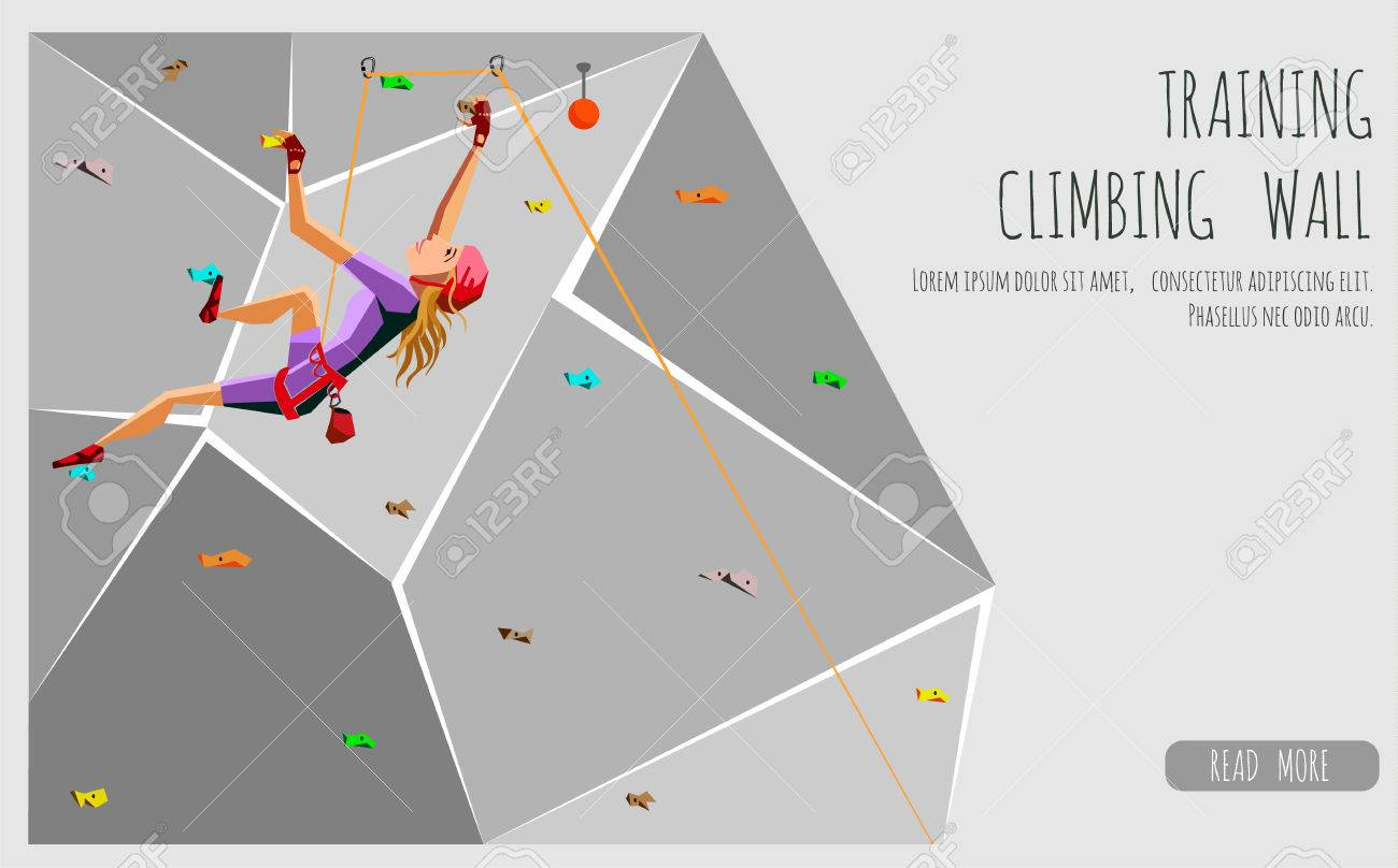 Training Climbing Wall With Grips And Holds Rock Climbing Girl 1300x808