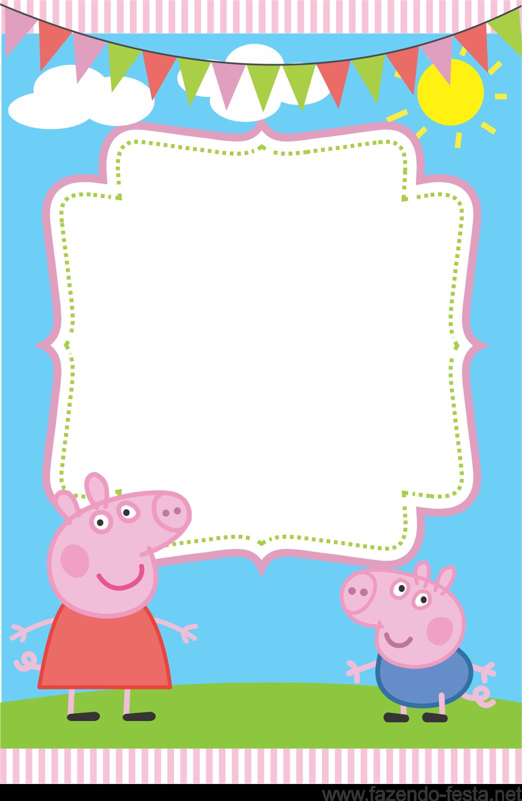 da Peppa Pig para aniversrios Convite da Peppa Pig para imprimir 1044x1600