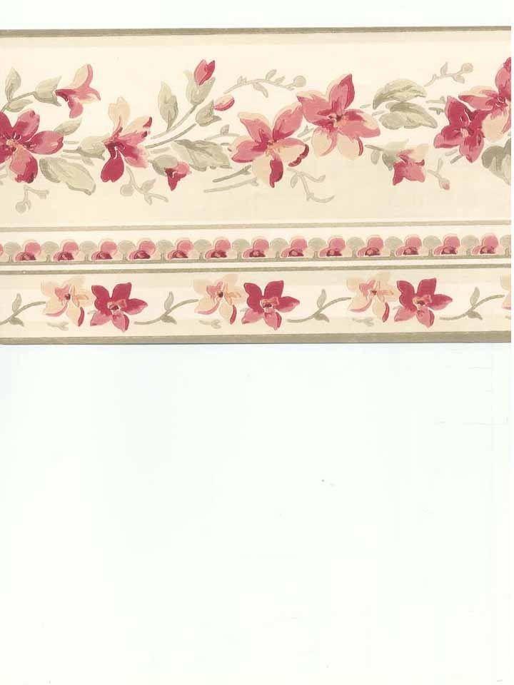 Rose Burgundy Pink Waverly Flower Floral Peach Orange Wallpaper Border 720x960