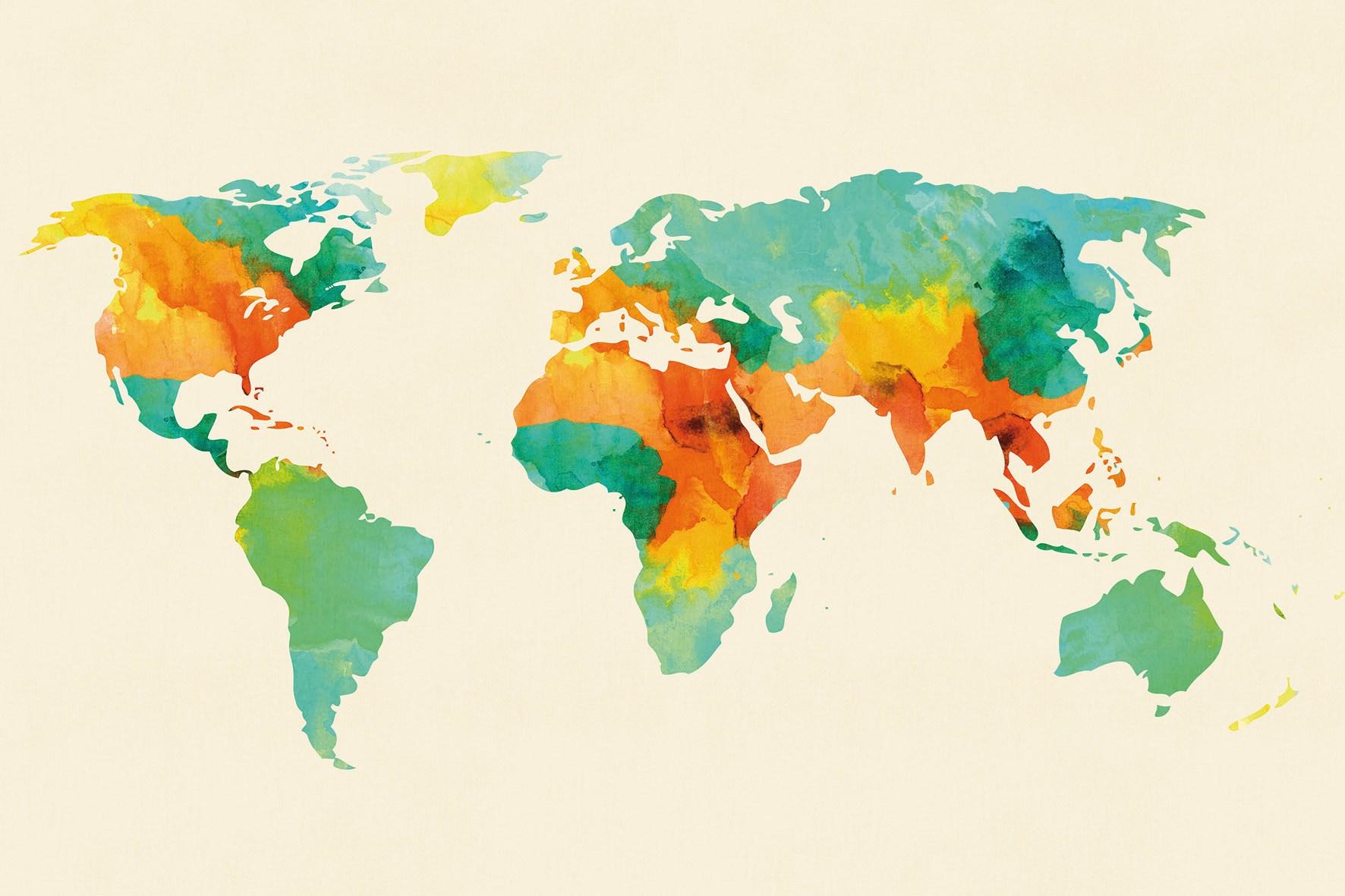 Washable vinyl wallpaper WORLD MAP by GLAMORA design Budi Satria 1772x1181