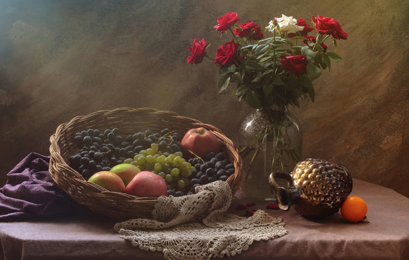 Wallpaper still life fruit bouquet roses wallpapers style 596x380