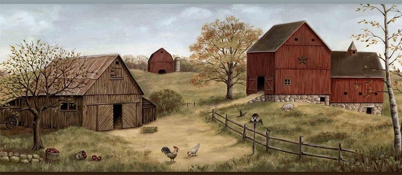 Details about Wallpaper Border Farmstead Red Barns Farm Country 1280x560