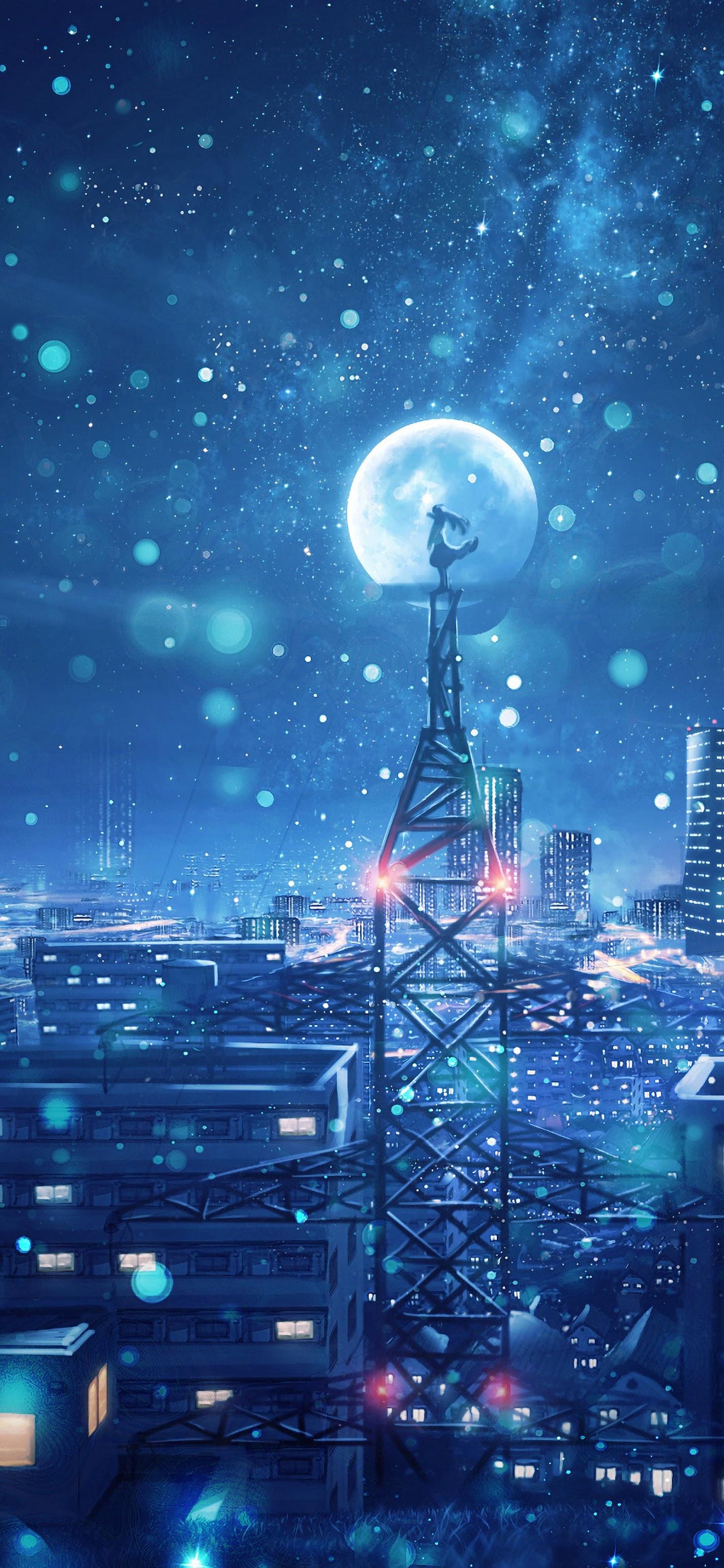 Night Sky City Stars Anime Scenery 4K Wallpaper 135 1440x3120