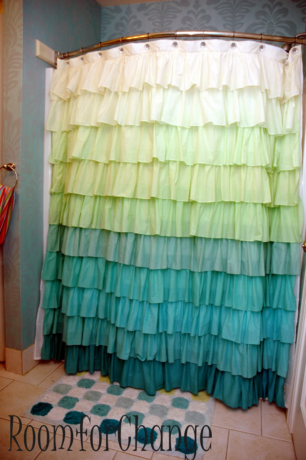 Blue ruffled shower curtains - Can You Believe This Adorable Ruffled Shower Curtain And Rug Came From