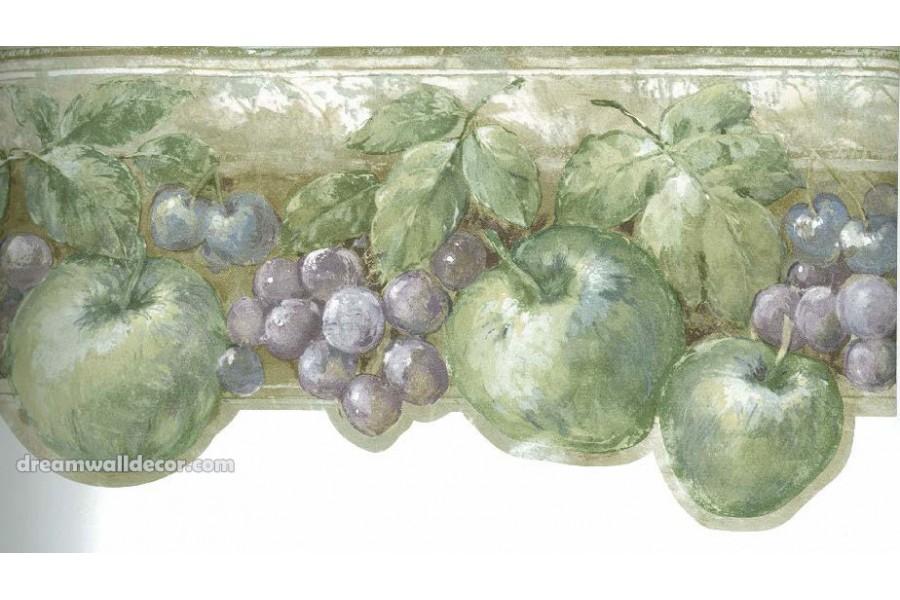 Green Fruits Kitchen Wallpaper Border 900x600