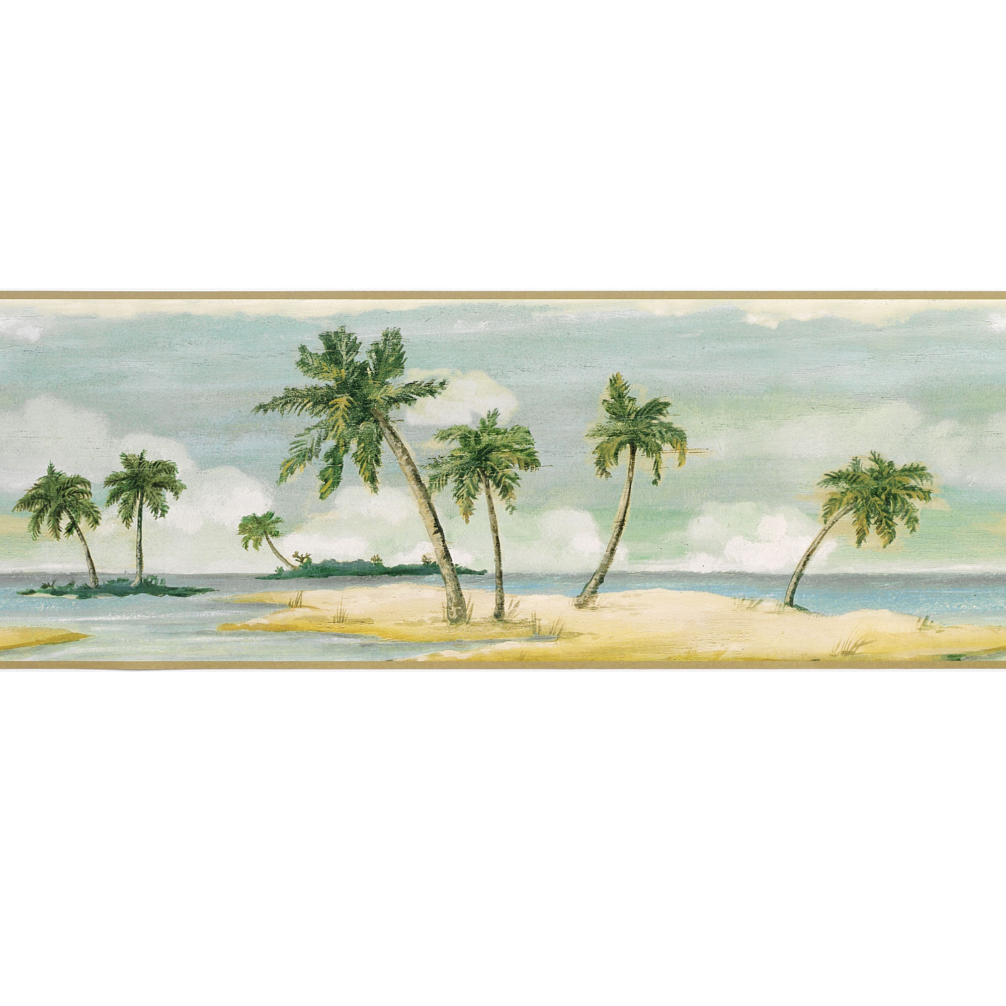 Home Tranquil Islands Palm Tree Wallpaper Border 2000x2000
