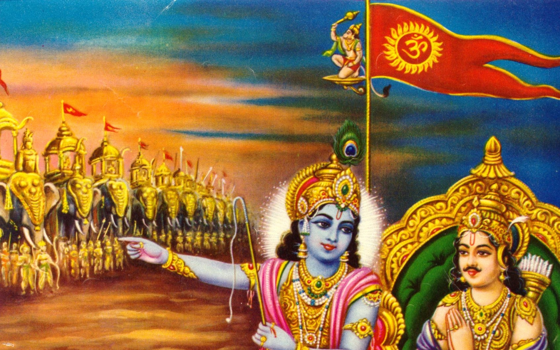 Hinduism Mythology Bhagavad Gita Wallpaper with 1920x1200 Resolution 1920x1200