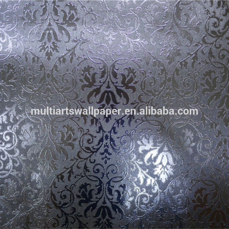 Leaf wall paper design home decor 3d wallpapers silver metallic 750x750