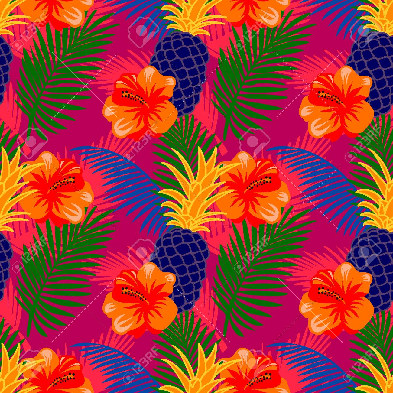 Seamless Pattern With Tropical Fruits Flowers And Palm Leaves 1300x1300