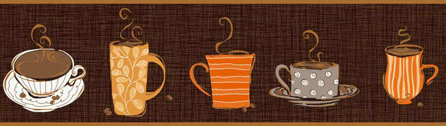 Brown Tan KB8501B Coffee Wallpaper Border Kitchen Bathroom 650x184