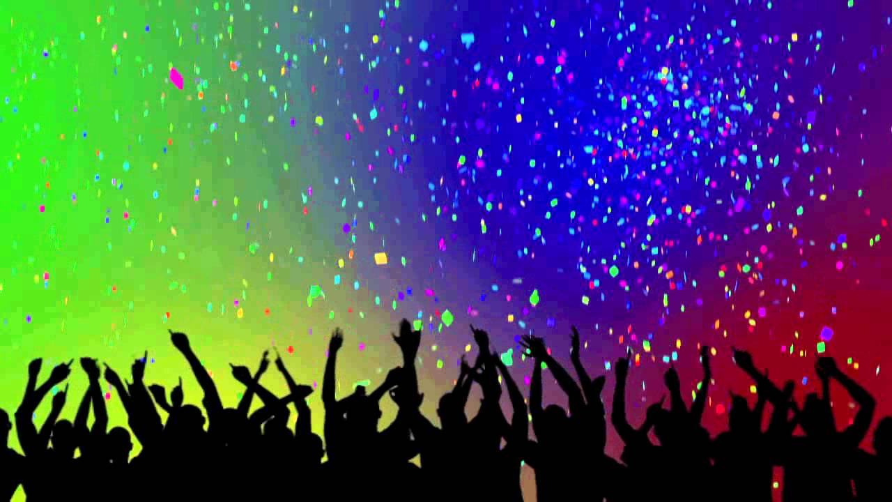 Party Crowd Silhouettes Confetti Looping Background 1280x720