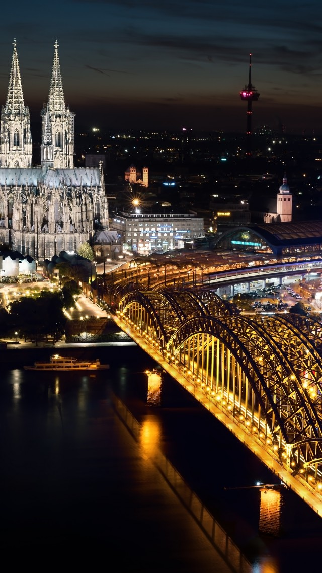 Wallpaper Cologne Cathedral Hohenzollern bridge Germany Cologne 640x1138