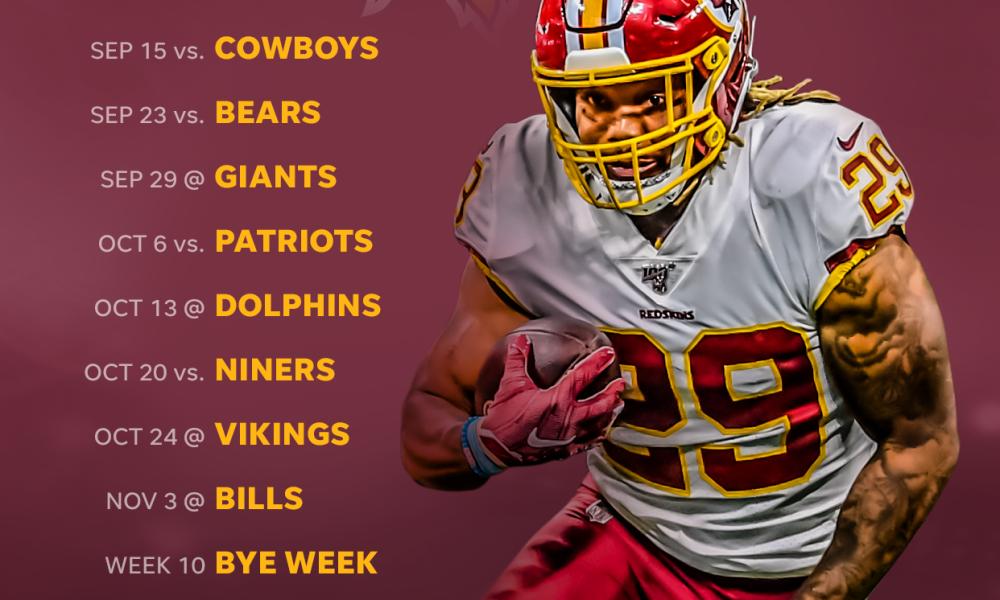 2019 Washington Redskins Schedule Downloadable Wallpaper 1000x600