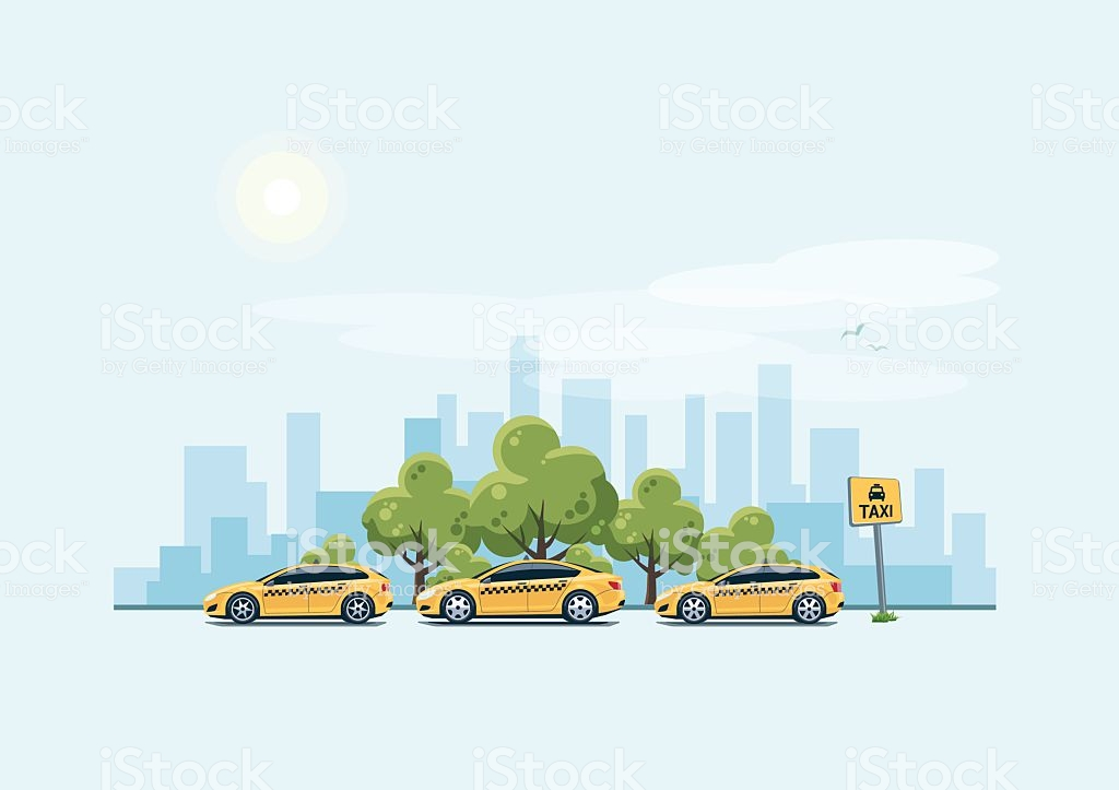 Parking Taxi Cars And City Background Stock Illustration 1024x723