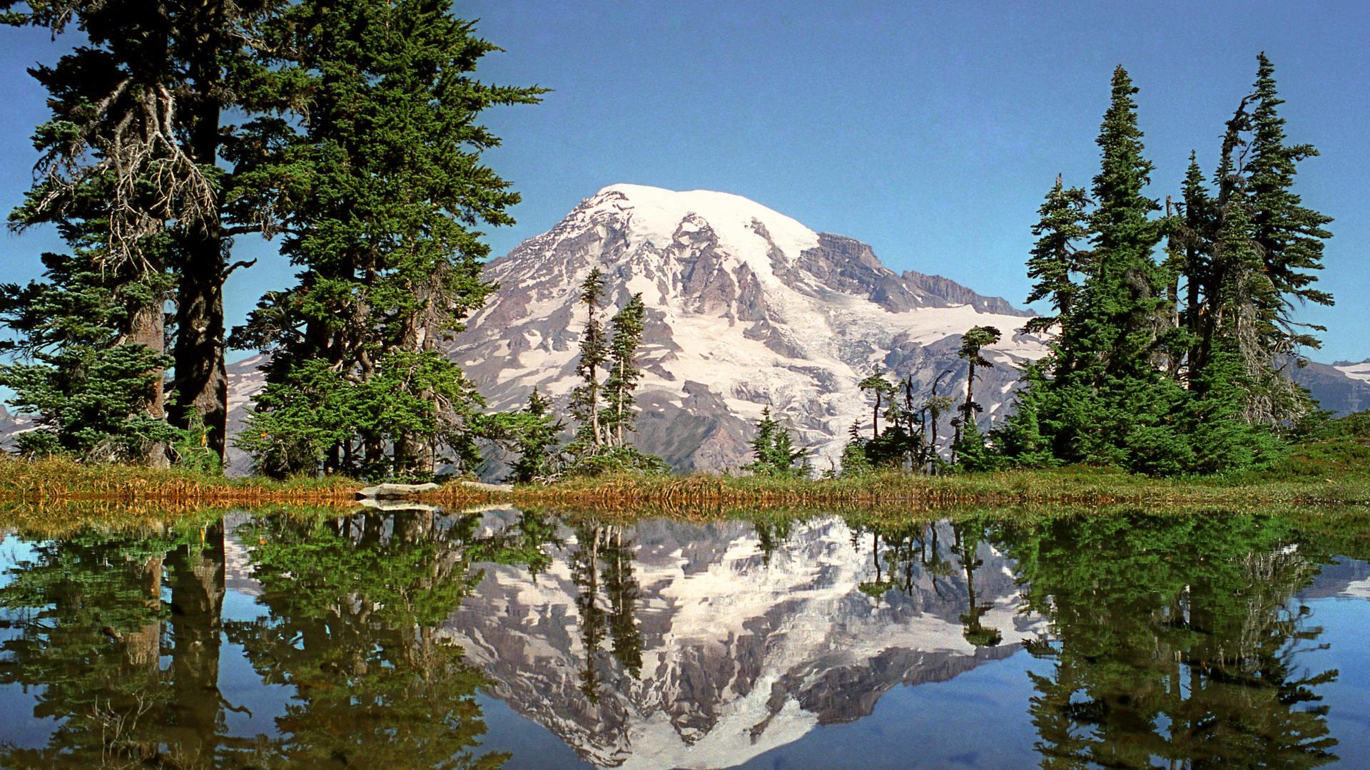 Wallpaper mount rainier national park mount rainier lake reflection 1920x1080