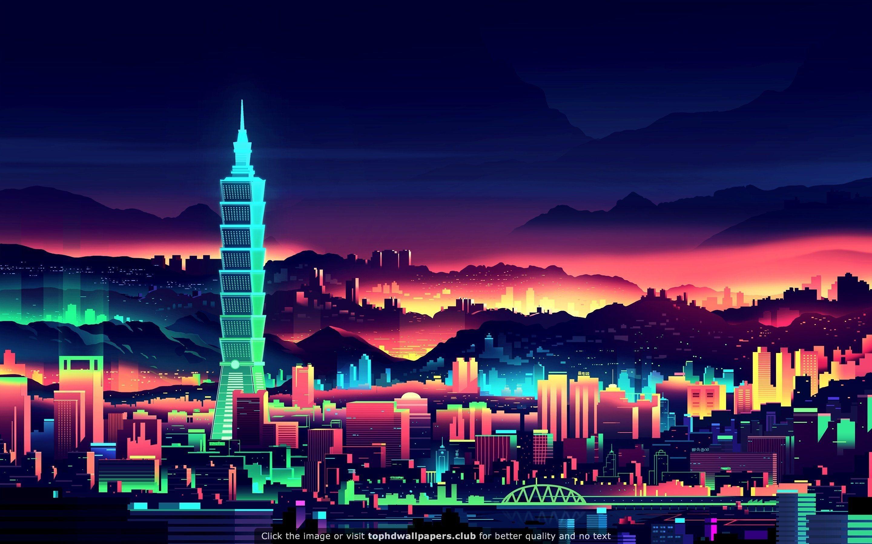 A Pretty Nice Neon wallpaper Vaporwave wallpaper City wallpaper 2880x1800