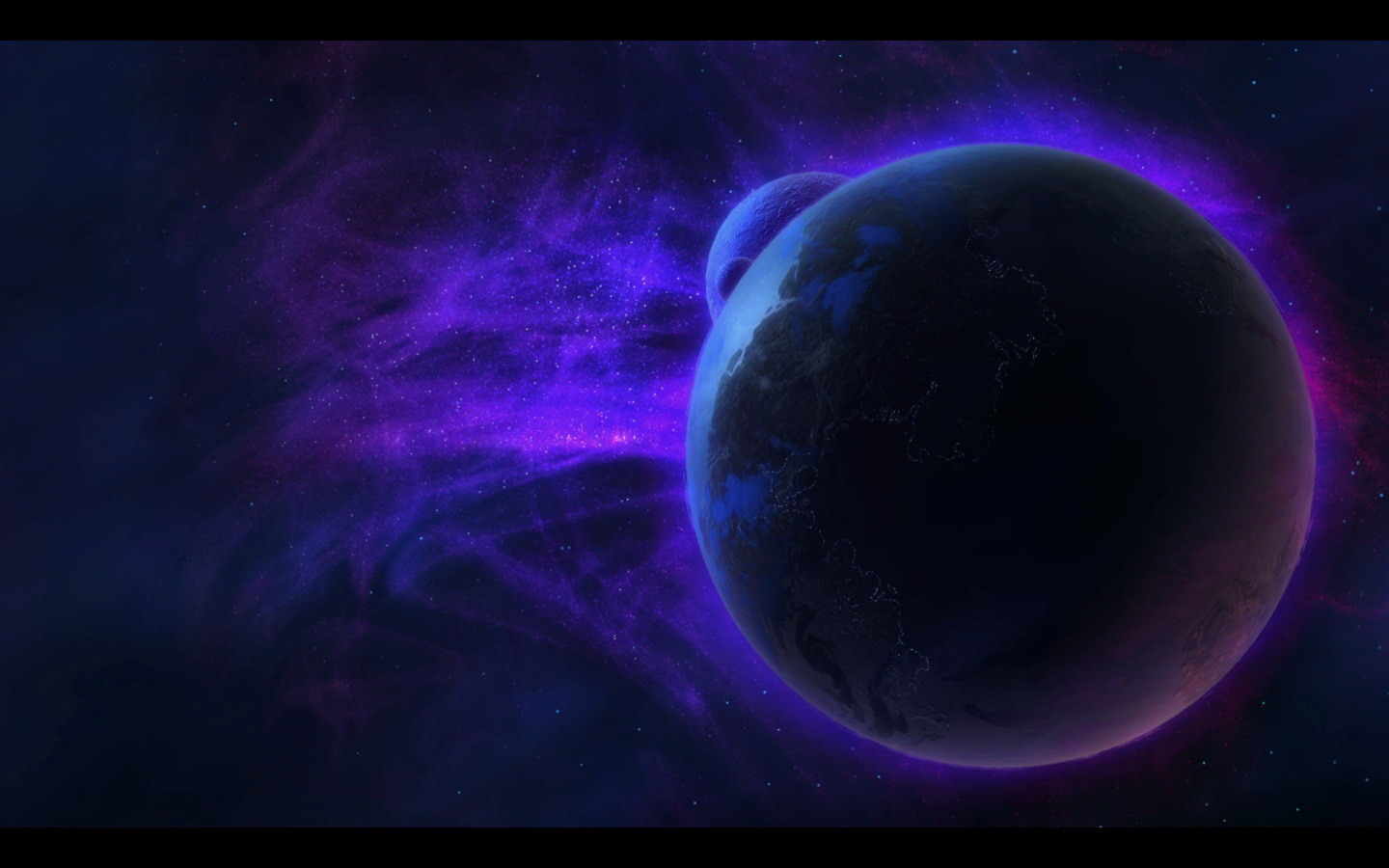 Dark Blue Space StarCraft II 1440x900
