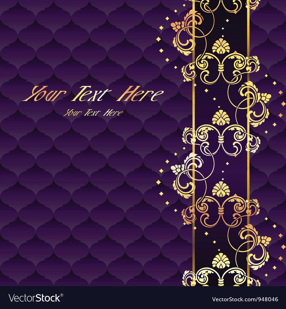 Elegant purple rococo background Royalty Vector Image 1000x1080