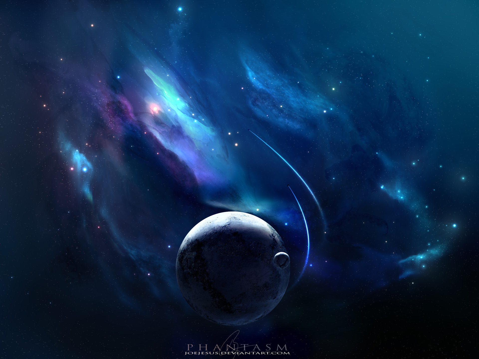 Full HD Wallpapers Space Blue Nebulae Planets Spacecrafts Stars 1920x1440