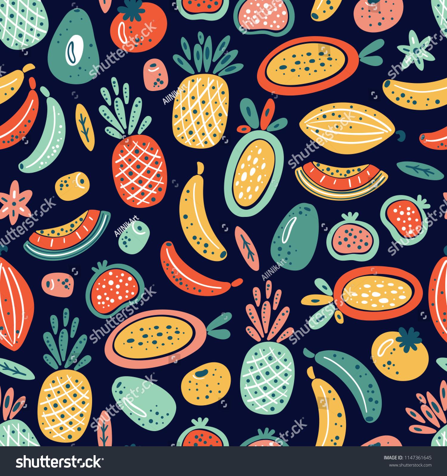 Cartoon Tropical Fruits Berries Vector Seamless Stock Vector 1500x1600