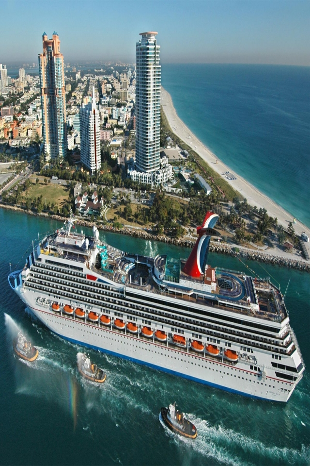 Landscape Wallpapers Carnival Valor Cruise Ship Miami 10027 640x960