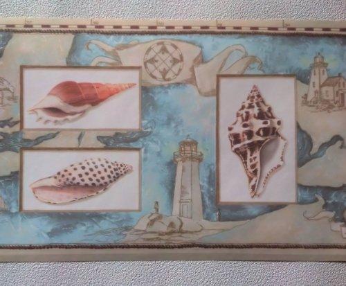 Rolling Borders Wallpaper Border Nautical Map Sea Shells Lighthouses 500x413