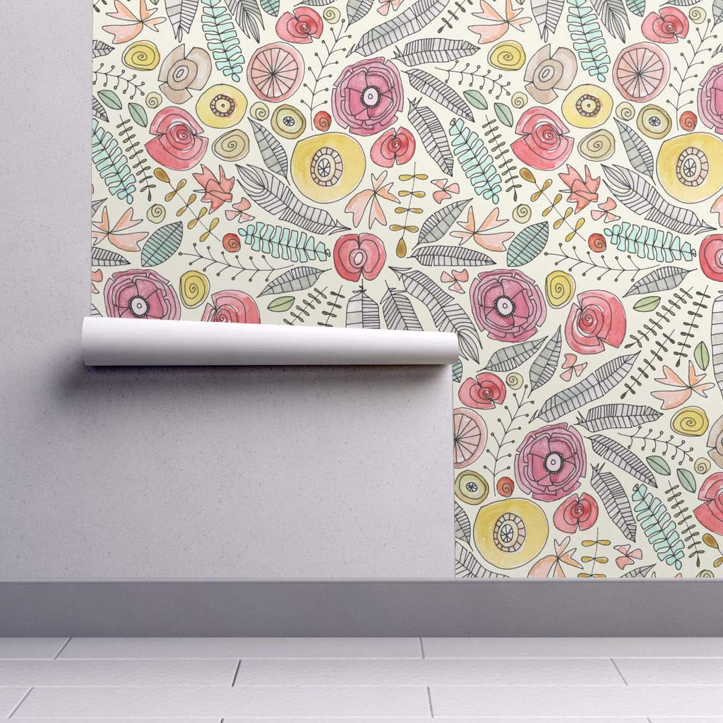 Peel and Stick Removable Wallpaper   Watercolor Floral Flowers and 1024x1024