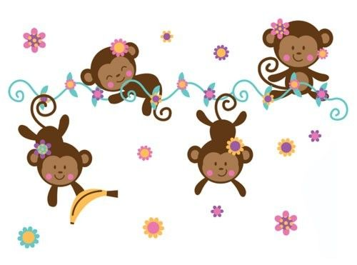 Monkey Wallpaper Border Baby Girl Nursery Kids Room Stickers Jungle W 500x371