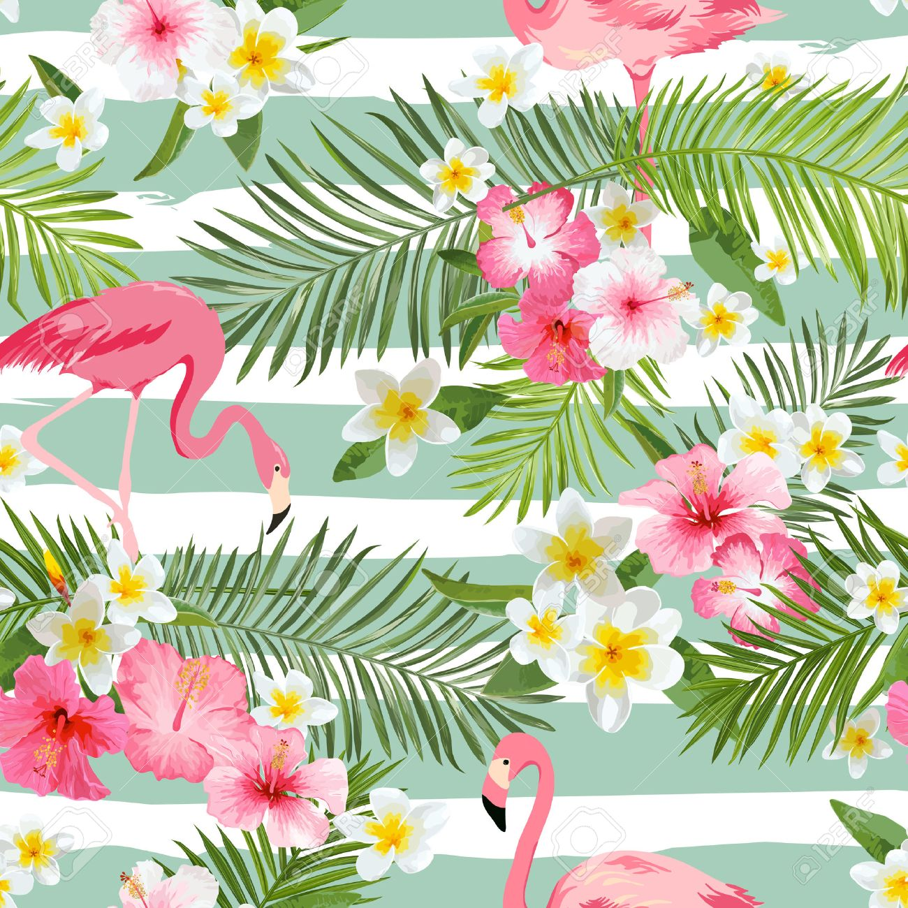 Flamingo Background Tropical Flowers Background Vintage Seamless 1300x1300