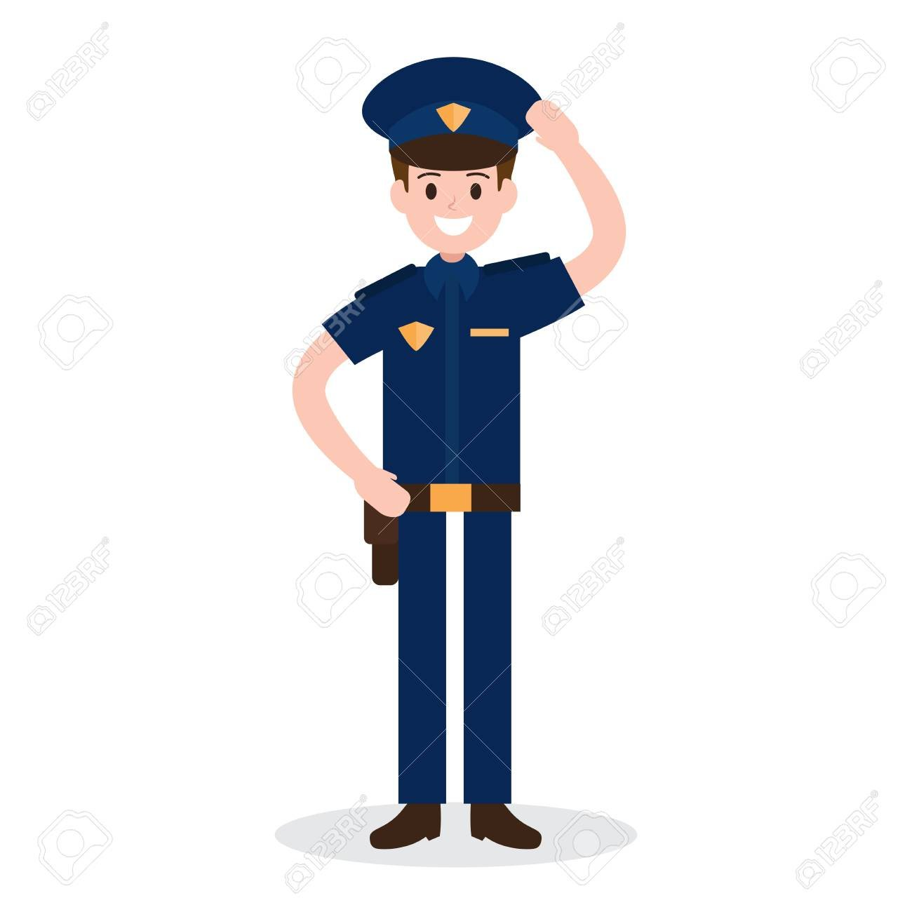 Smiling Policeman On White Background Worker Officer Job 1300x1300