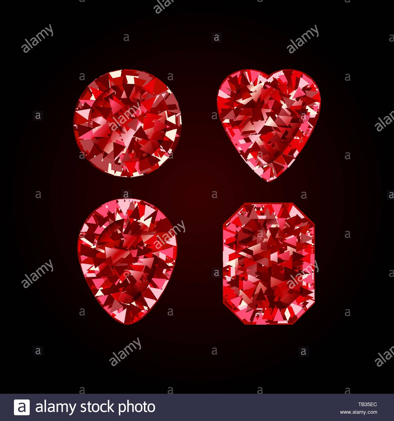Set of Realistic Red ruby Diamond isolated on black background 1300x1390