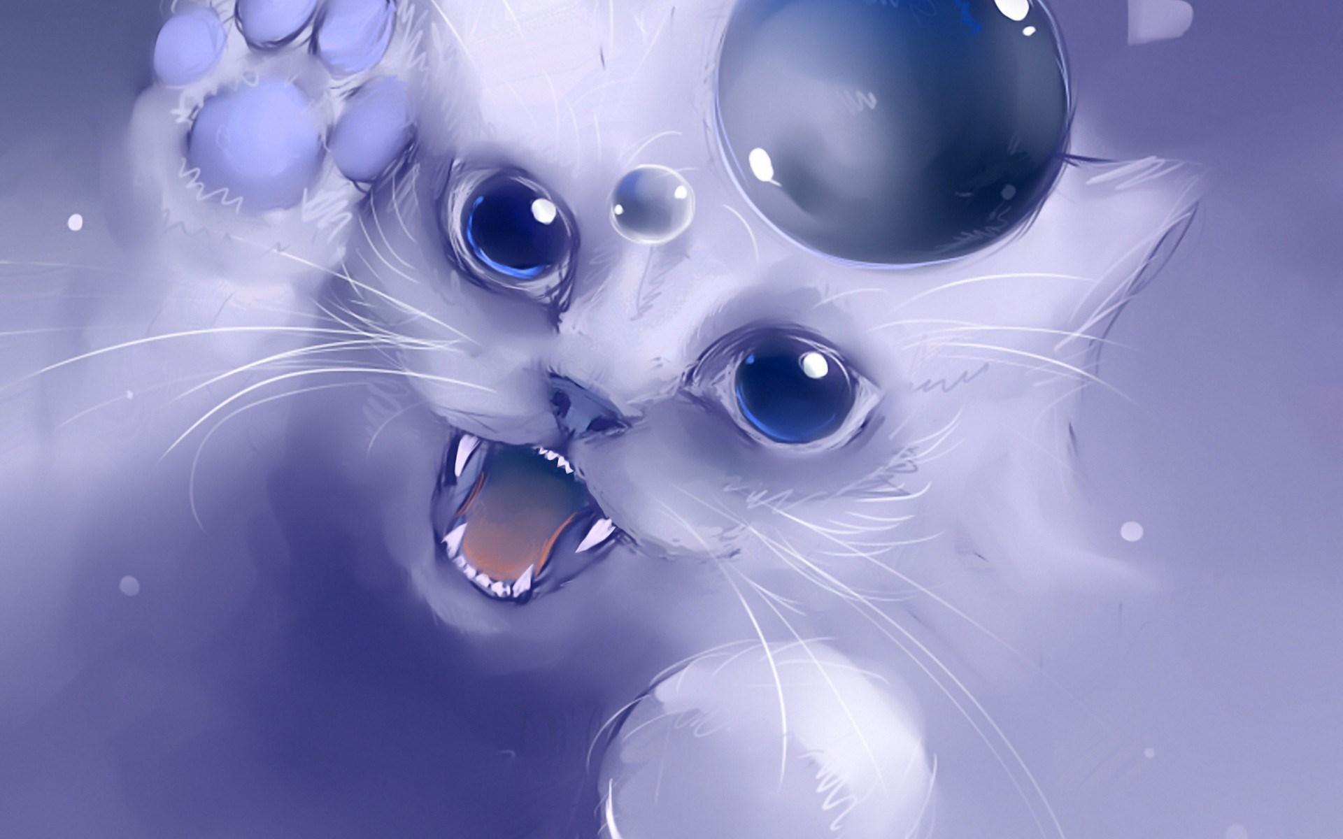 Artwork Manga Anime Wallpaper Kitty Cat Bubble Drawing Art