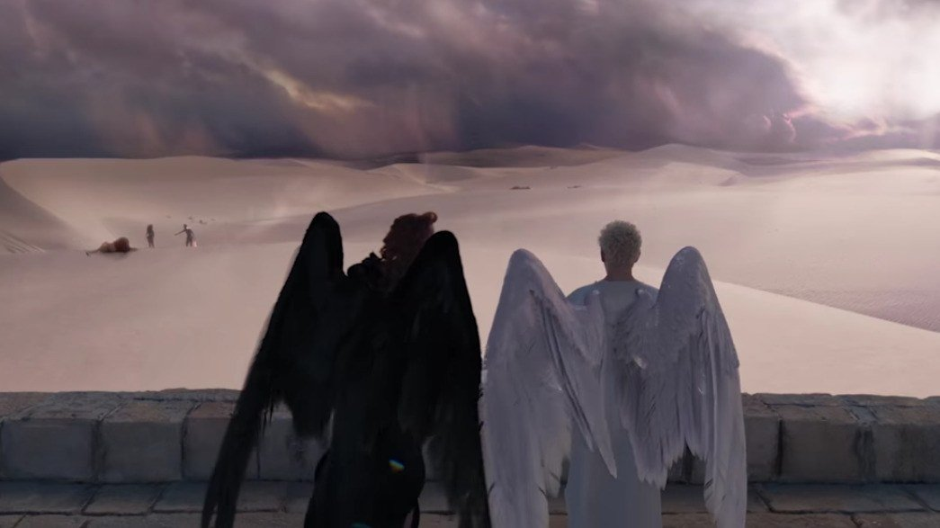 The First Good Omens Trailer Makes Armageddon Look Pretty Great GQ 1045x587
