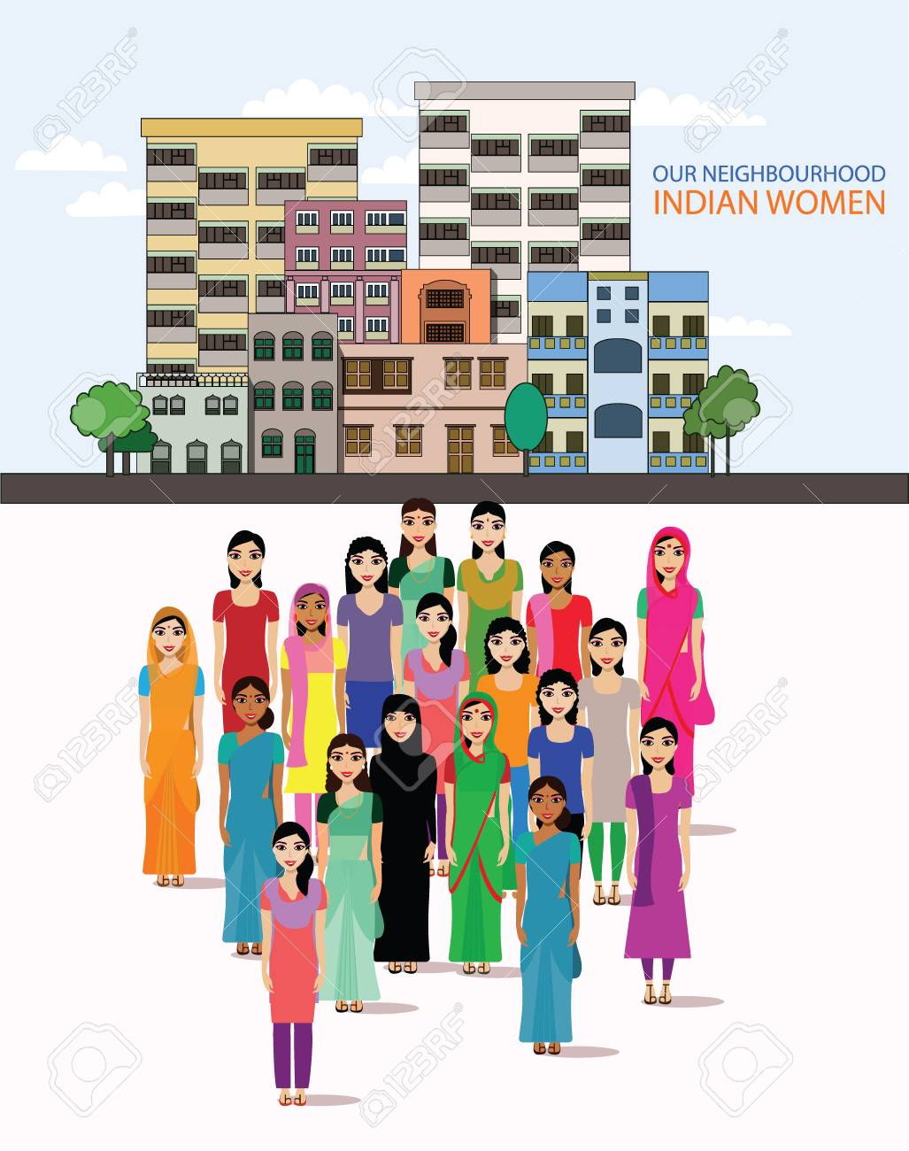 Big Crowd Of Indian Women Vector Avatars On Indian Town Background 1027x1300