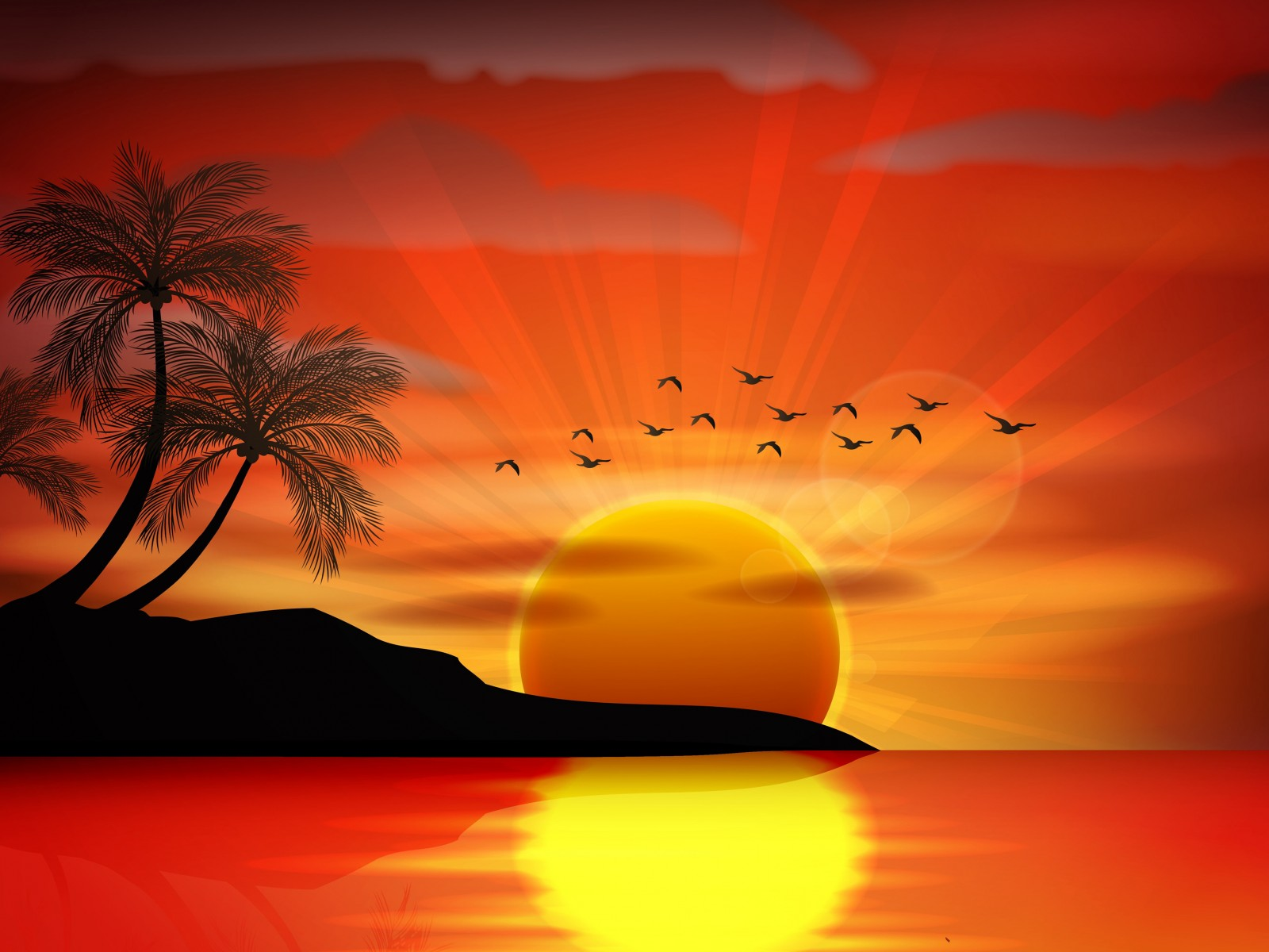 Sunset Sea Paradise Tropical Island Palms Silhouette Birds 1600x1200