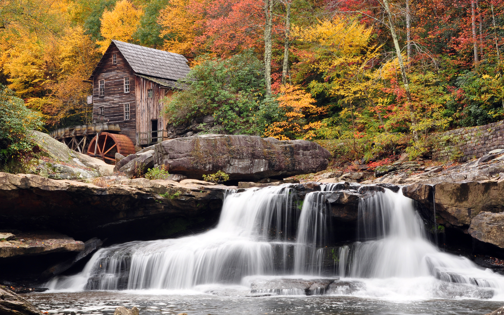waterfall old barn forest Wallpaper Background 54551 1920x1200